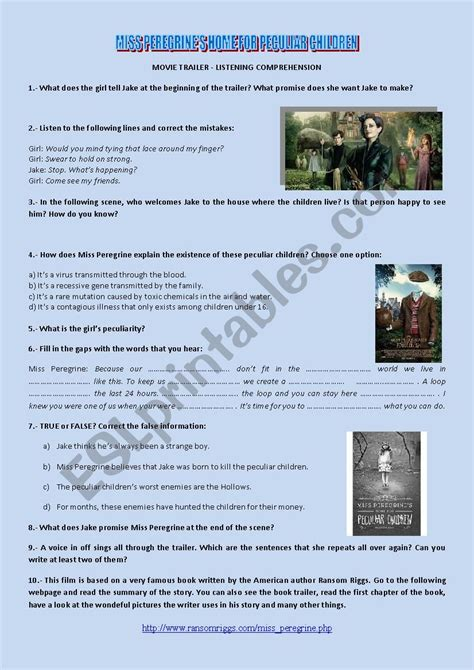 English worksheets: MISS PEREGRINE´S HOME FOR PECULIAR